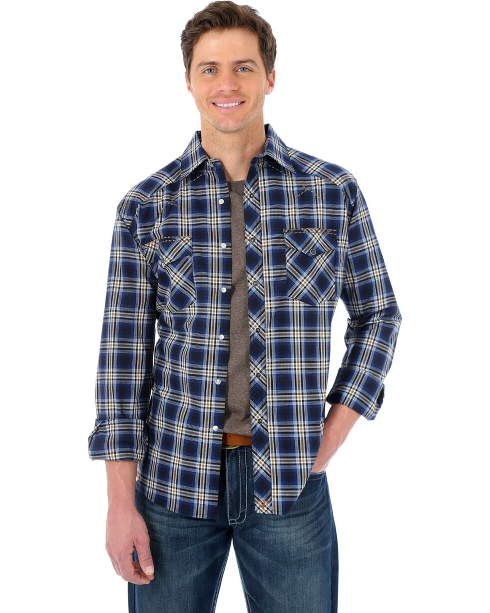 Wrangler 20X Navy and Brown Plaid Western Shirt, Navy, hi-res
