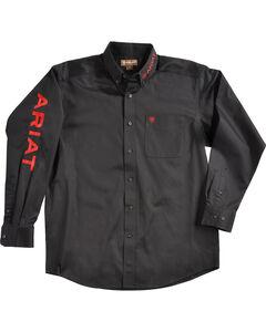 Ariat Men's Black Solid Twill Casual Classic Logo Shirt, Black, hi-res
