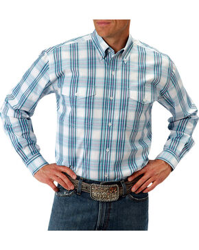 Roper Men's Turquoise Button Down Long Sleeve Shirt, Turquoise, hi-res