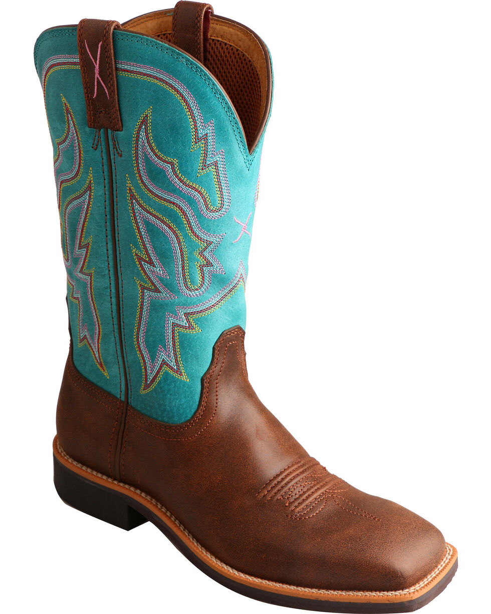 Twisted X Turquoise Top Hand Cowgirl Boots - Square Toe , Brown, hi-res
