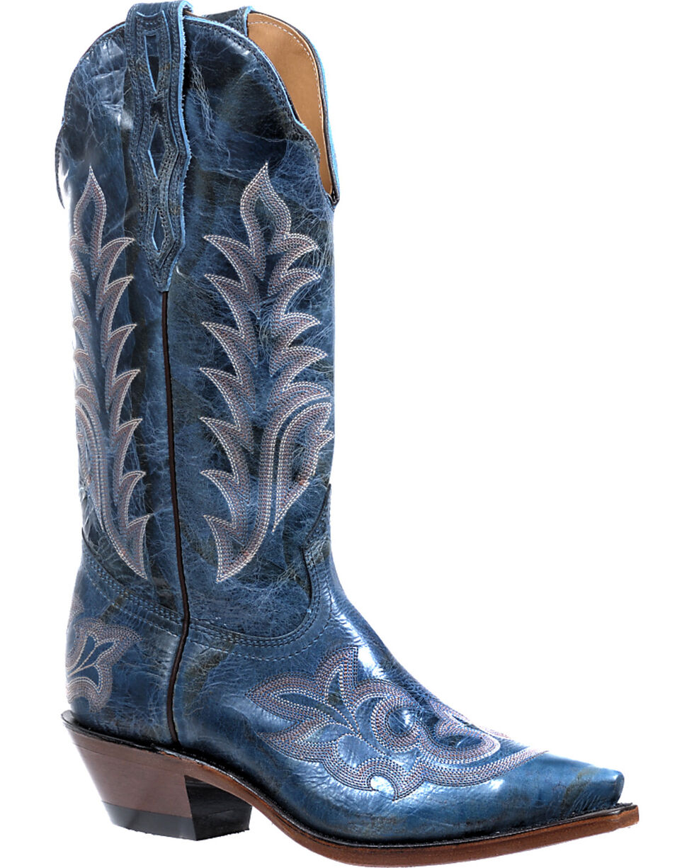 Boulet Puma Turqueza Cowgirl Boots - Snip Toe, Blue, hi-res