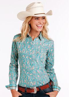 Rough Stock by Panhandle Women's Rue Cavallion Print Shirt - Plus Size , Turquoise, hi-res