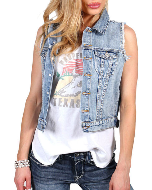 Shyanne Women's Denim Vest, Blue, hi-res