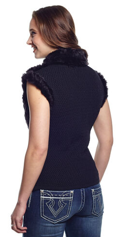 Cripple Creek Women's Faux Fur Black Sweater Vest - Country Outfitter