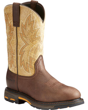 Ariat Men's Chocolate Workhog Raptor Western Boots - Round Toe , Chocolate, hi-res