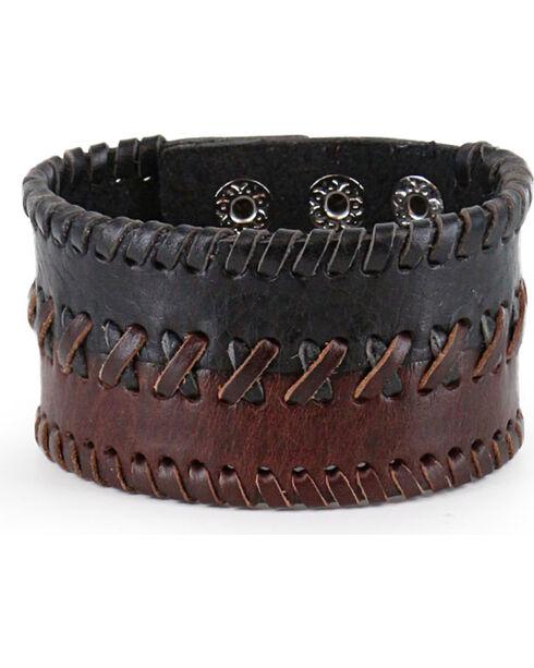 Moonshine Spirit Men's Braided Leather Cuff, Dark Brown, hi-res
