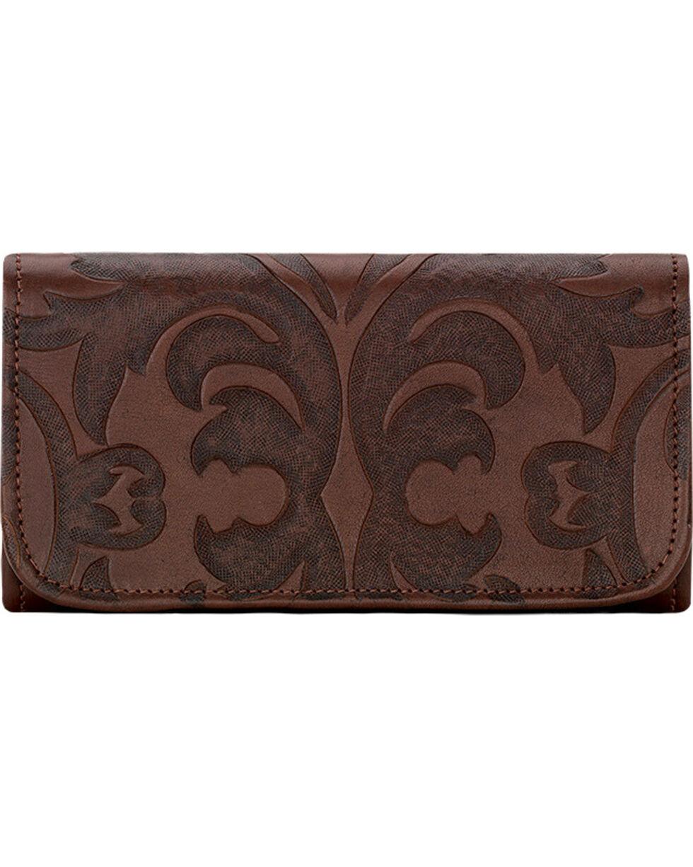 American West Chestnut Brown Baroque Tri-Fold Wallet , Brown, hi-res