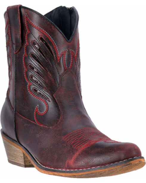 Dingo Women's Red Flat Bush Short Western Boots - Round Toe, Red, hi-res