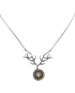 Shyanne Women's Shotgun Shell Antler Necklace, Silver, hi-res