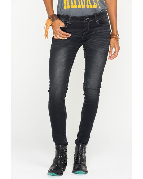 Grace in LA Women's Black Simple Pocket Jeans - Skinny , Black, hi-res