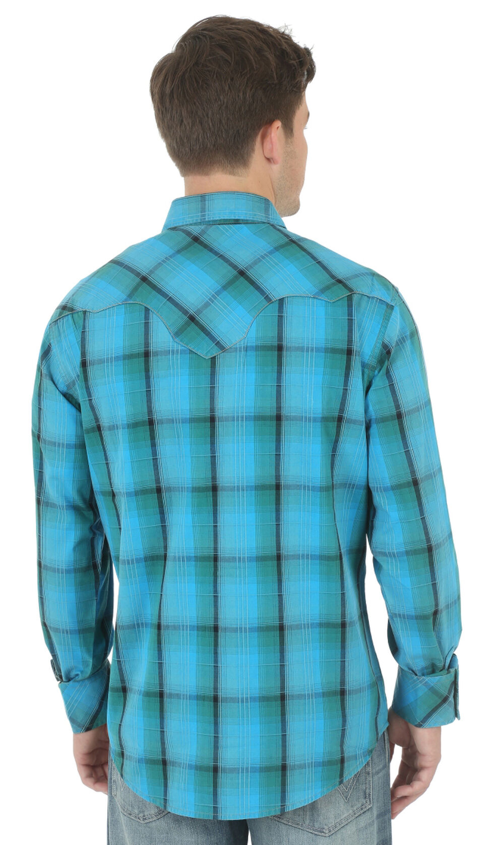 Wrangler Retro Men's Green, Blue, and Khaki Plaid Western Shirt , Green, hi-res