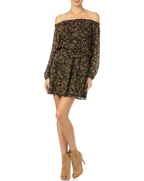 Miss Me Black and Gold Floral Off Shoulder Dress, Black, hi-res