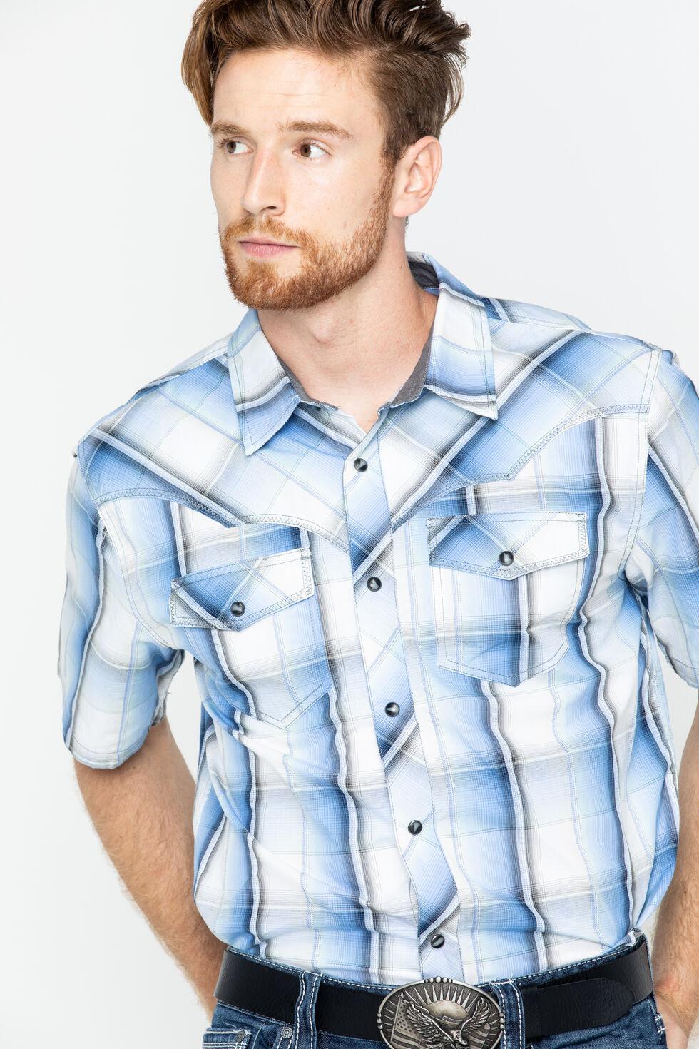 Cody James Men's Block Plaid Short Sleeve Shirt, Blue, hi-res