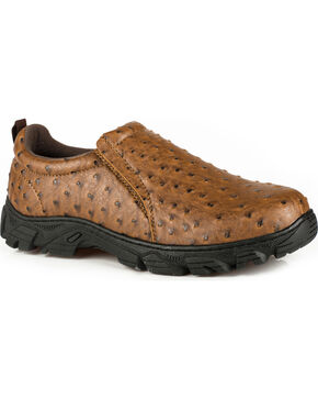 Roper Men's Tan Cotter Ostrich Print Casual Shoes , Tan, hi-res