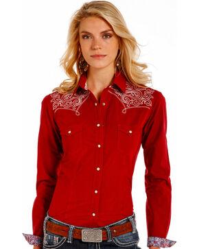 Rough Stock by Panhandle Women's Burgundy Checkered Embroidered Yoke Shirt, Burgundy, hi-res