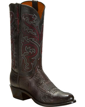 Lucchese Men's Black Cherry Nathan Smooth Ostrich Western Boots - Round Toe , Black Cherry, hi-res
