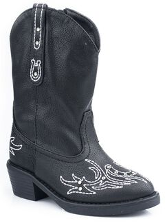 Roper Toddler Girls' Bling Stitch Cowgirl Boots, Black, hi-res