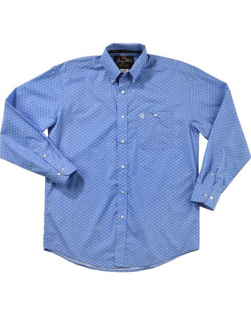 Wrangler George Strait Men's Bluegrass Long Sleeve Button Down Shirt - Big & Tall, Blue, hi-res
