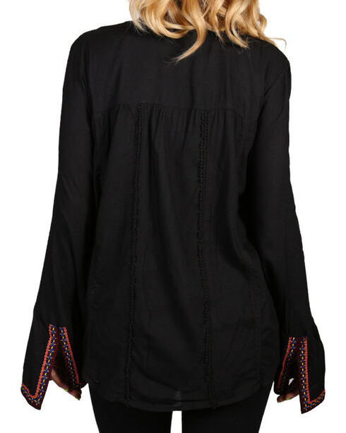 Rock & Roll Cowgirl Women's Black Peasant Blouse , Black, hi-res
