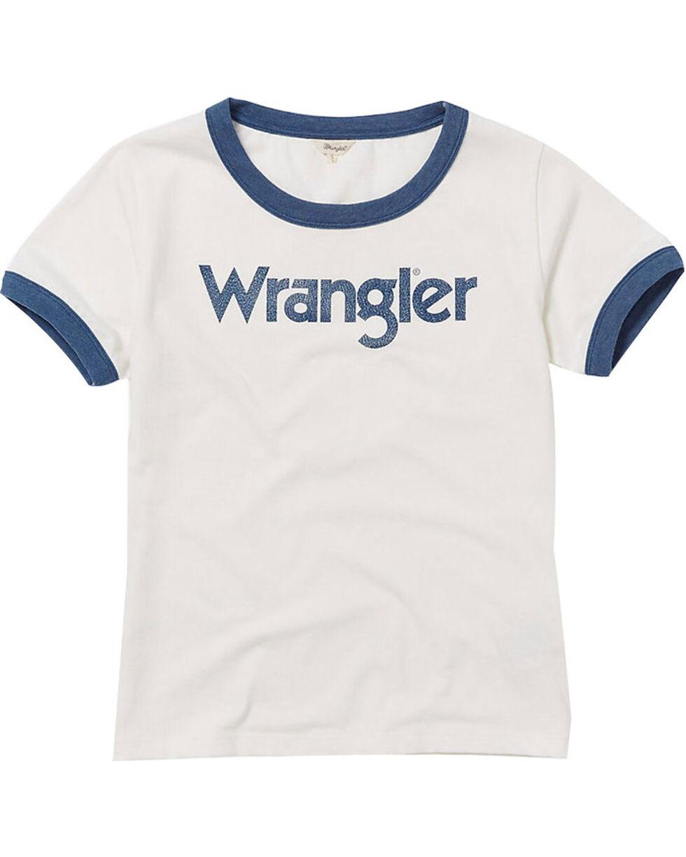 Wrangler Women's 70th Anniversary Navy Retro Kabel Logo Ringer Tee, Navy, hi-res