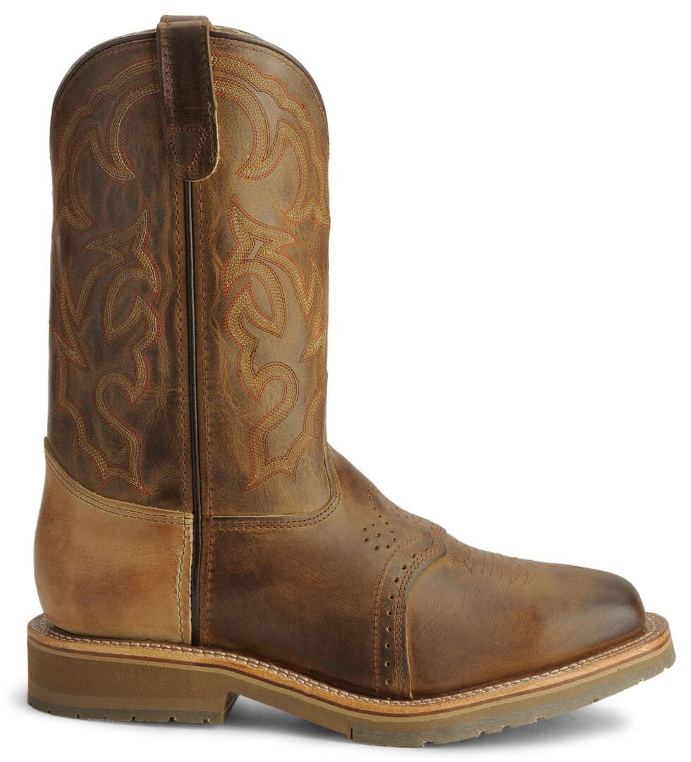 Double H Roper Cowboy Work Boots - Square Steel Toe, Bark, hi-res