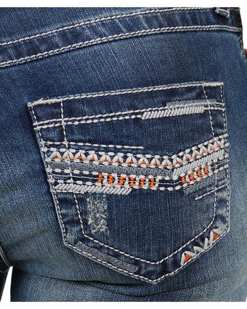 Shyanne Women's Chevron Embroidered Capris, Blue, hi-res