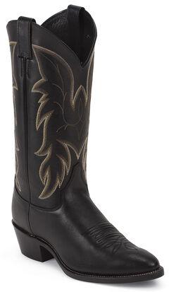 Justin Black Basic Western Boots - Medium Toe, , hi-res