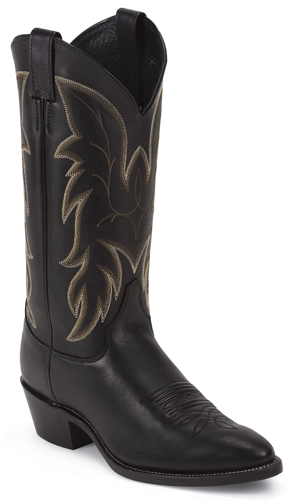 Justin Black Basic Western Boots - Medium Toe, Black, hi-res
