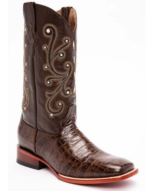Ferrini Chocolate Alligator Belly Print Cowboy Boots - Square Toe, Chocolate, hi-res