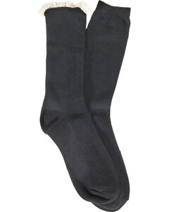 Shyanne Women's Ruffle and Solid Boot Socks, Black, hi-res