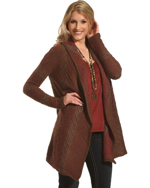 Mystree Women's Chevron Knit Cardigan, Red/brown, hi-res