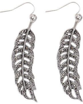 Shyanne Women's Feather Rhinestone Earrings , Silver, hi-res