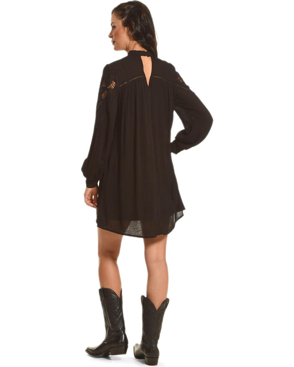 HYFVE Women's Lace Keyhole Long Sleeve Dress, Black, hi-res