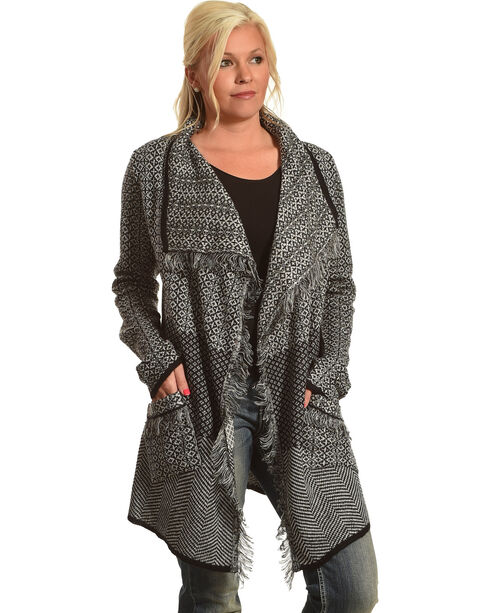Allison Brittney Women's Shawl Collar Long Sleeve Cardigan, Black, hi-res