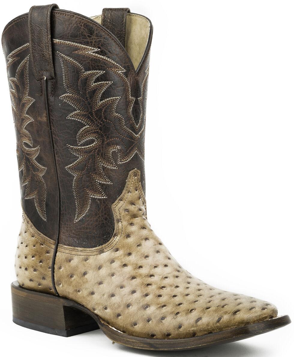 Roper Honey Brown Ostrich Print Cowboy Boots - Square Toe , Brown, hi-res