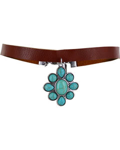 Shyanne Women's Turquoise Floral Beaded Choker, Turquoise, hi-res