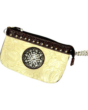 Savana Ivory Tooled Leather Rhinestone Medallion Clutch, Ivory, hi-res