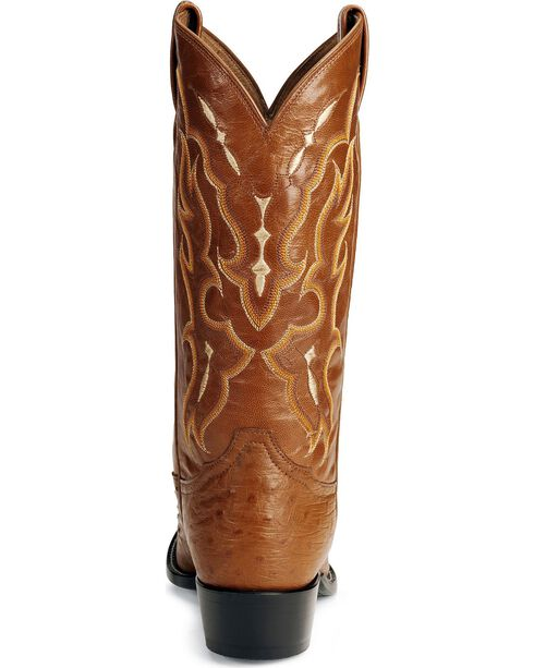 Tony Lama Smooth Ostrich Western Boots - Round Toe, Peanut Brittle, hi-res