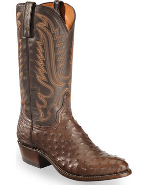 Lucchese Men's Dark Brown Luke Full Quill Ostrich Boots - Medium Toe , Dark Brown, hi-res