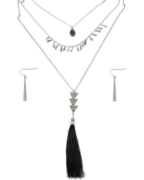 Shyanne® Women's Tassel Jewelry Set, Silver, hi-res