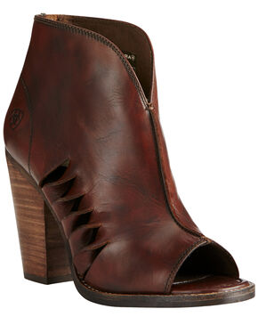 Ariat Women's Dark Brown Lindsley Open Toe Bootie, Dark Brown, hi-res