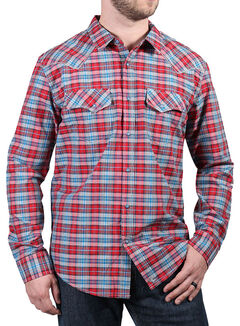 Cody James Men's Dodge City Plaid Long Sleeve Shirt, Red, hi-res