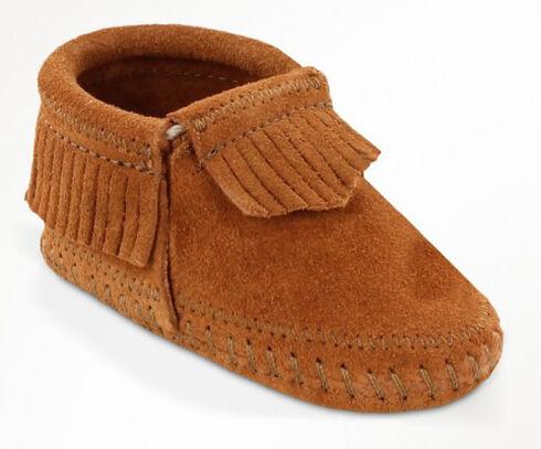 Minnetonka Infant Girls' Riley Moccasin Booties, Brown, hi-res