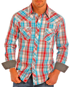 Rock & Roll Cowboy Men's Corral Plaid Long Sleeve Western Shirt , Turquoise, hi-res