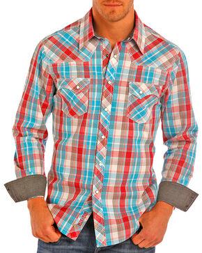 Rock & Roll Cowboy Men's Corral Plaid Long Sleeve Western Shirt , Turquoise, hi-res