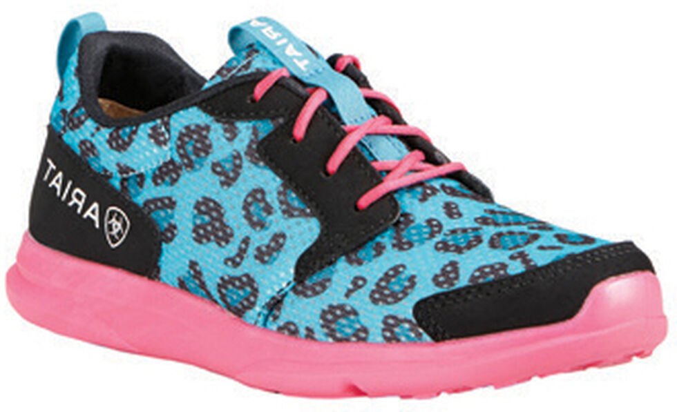 Ariat Youth Girls' Fuse Blue Leopard Mesh Shoes, Blue, hi-res