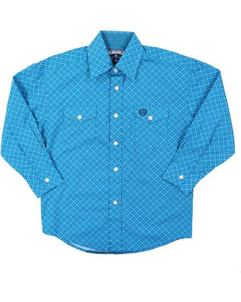 Panhandle Boys' Select Geo Pattern Long Sleeve Shirt, Turquoise, hi-res