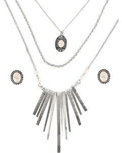 Shyanne Women's Aztec Inspired Waterfall Jewelry Set , Cream, hi-res