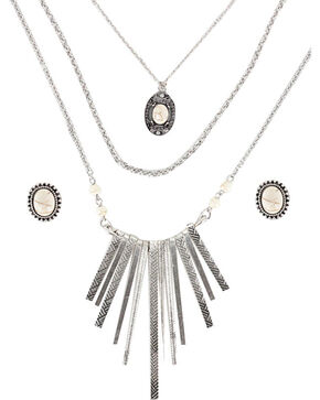 Shyanne Women's Aztec Inspired Waterfall Jewelry Set , Cream, hi-res
