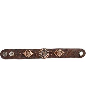 American West Women's Chestnut Conchos Narrow Cuff Bracelet , Chestnut, hi-res